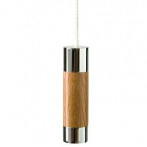 Miller Chrome & Oak Cylindrical Light Pull with Cord